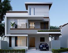 10 Marla Exterior on Behance 2 Storey House Design, Bungalow House Design, House Front Design, Small House Design, Modern Exterior House Designs, Modern House Design, Exterior Design, 10 Marla House Plan, Kerala House Design