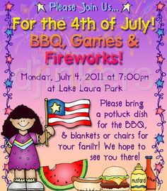 July party invitation, 4th of July, barbecue invitation, barbecue clip art, American clip art
