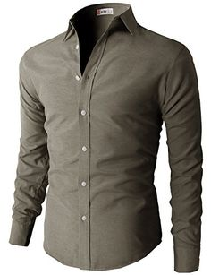 H2H Men's Oxford Cotton Slim Fit Button-down Long Sleeve Shirt at Amazon Men's Clothing store: