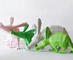 Geometrische papieren dieren sculpturen van Paperwolf