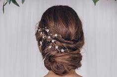 Enredadera de pelo de boda de flores pequeñas en oro, oro color de rosa o plata - Ivy