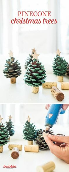 Spread some holiday cheer and decorate your home with these DIY Pinecone Christm., Frisuren,, Spread some holiday cheer and decorate your home with these DIY Pinecone Christmas Trees. Create your own mini pinecone trees with spray paint and win. Noel Christmas, Christmas Ornaments, Diy Ornaments, Outdoor Christmas, Christmas 2019, Pinecone Christmas Crafts, Christmas Movies, Christmas Tree Pinecones, Christmas Kids Decorations