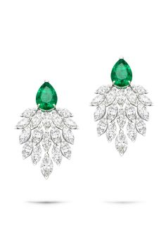 Earrings in 18K white gold set with 34 marquise-cut diamonds and 2 pear-shaped emeralds.