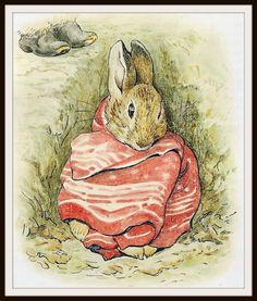 """Peter Rabbit in a Handkerchief by Beatrix Potter Art Print 8 x 10"""" Professionally printed on medium weight glossy cardstock. Perfect for nursery or shower gift. Ready for framing"""