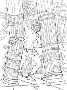 samson pushing down pillars coloring page - Samson Delilah Coloring Pages