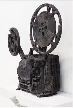 "Daniel Arsham - ""Ash Eroded 16mm Film Projector,"" 2013 - Volcanic ash, shattered glass, hydrostone"