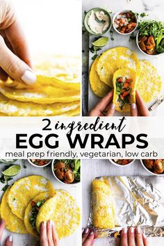 These paleo breakfast egg wraps are rich in protein with the power of eggs It s a customizable easy meal prep recipe with just 2 ingredients as the base Keto low carb and vegetarian too paleo eggs mealprep keto vegetarian Vegetarian Meal Prep, Healthy Meal Prep, Healthy Breakfast Recipes, Brunch Recipes, Healthy Recipes, Vegetarian Wraps, Paleo Food, Paleo Wraps, Protein Recipes