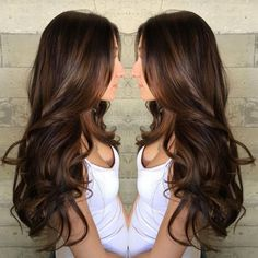 Long Curled Chocolate Brown Hair with Caramel Highlights by tanya
