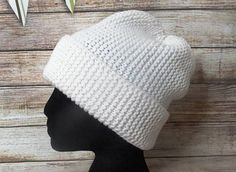 White winter roll hat Knitted ribby cap Handmade corded