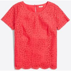 J.Crew Lace T-shirt ($42) ❤ liked on Polyvore featuring tops, t-shirts, lace top, red lace top, lacy tops, j crew t shirts and red tee