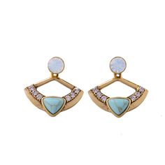 Europe Women Fashion Daily Ear Accessories Artificial Stone Blue Earring Piercing Removable Vintage Earring