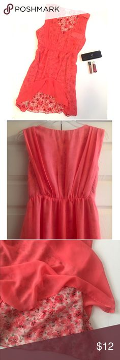 Sheer • Floral • Dress Tangerine colored sheer dress with floral lining underneath. Cute pleats on bodice both front and back, with mock pocket on front.   🔶Brand • Esley.  🔶Size • Large.  🔶Fabric • Self - 100% polyester, Contrast - 100% polyester.  🔶Condition • Worn with care in beautiful condition. Sheer does have a couple of pulls in the fabric as shown in the last picture.   🔶Measurements upon request. Esley Dresses