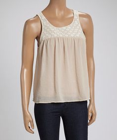 This LOVE STITCH Champagne & Ivory Embroidered Yoke Sleeveless Top by LOVE STITCH is perfect! #zulilyfinds