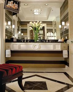 My favourite hotel! The Palazzo hotel in Las Vegas comes with 120 square feet of bathroom fun. Plus you can choose from a massage table, pool table, or piano to go in the room!
