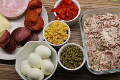 Aspikový dort nebo terina se šunkovými rolkami - Meg v kuchyni Eggs, Meat, Chicken, Breakfast, Food, Beef, Morning Coffee, Meal, Egg