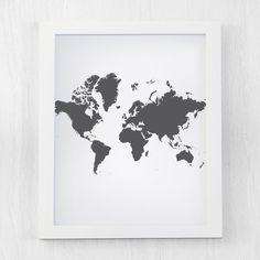 Vinilos decorativos mapamundi silueta mapa del mundo gaston map decor gray map of the world world map poster vertical horizontal gumiabroncs Gallery