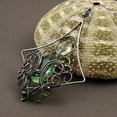 Silver wire wrap pendant, wirework fine jewelry, green amethyst pendant, gemstone jewelry, sterling wire wrapped jewelry, vintage style on Etsy, $140.00