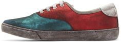 Marc Jacobs - Red Distressed Metallic Sneakers