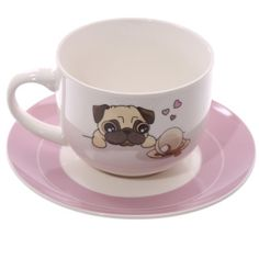 Pug Cappuccino Mug and Saucer. Made from New Bone China ​ Dimensions: Cup Height 8cm Width 14cm Depth 10.5cm Saucer 1.5x17.5x17.5cm  ​Delivery prices available on Checkout