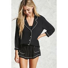 Forever21 Contrast-Piped PJ Set ($20) ❤ liked on Polyvore featuring intimates, sleepwear, pajamas, forever 21 sleepwear, long sleeve pajama set, forever 21 pjs, button front pajamas and long sleeve pajamas