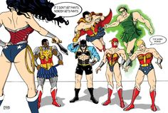 wonder woman through the ages, all together   Trickle down sexism: Wonder Woman with no pants, LEGO with no pants