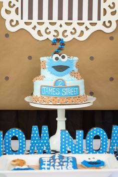 Decorations at a Cookie Monster Birthday Party!  See more party ideas at CatchMyParty.com!