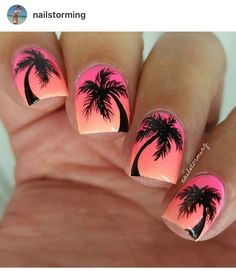 35 Inspiring Summer Nails Putting a spin on the typical palm tree design, this silhouette nail art perfectly complements its pink ombre background Cruise Nails, Vacation Nails, Sunset Nails, Beach Nails, Tropical Nail Designs, Cute Nail Designs, Beachy Nail Designs, Pedicure Designs, Uñas Color Coral