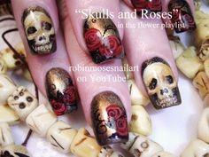 Bone Skulls & Red Roses Nail Art - Robin Moses