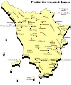 Map of Principal Tourist Places in Tuscany  #TuscanyAgriturismoGiratola