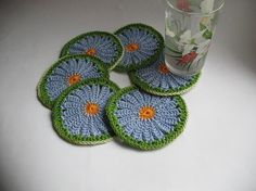 Crochet Coasters in blue Daisy Camomile Set of 6  by ninellfux,