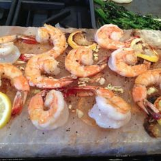 Lemon-Garlic Shrimp Cooked on a Himalayan Salt Plate