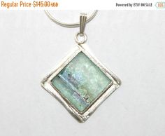 Roman Glass Pendant Necklace Sterling Silver 925 Hand Made With Certificate #2