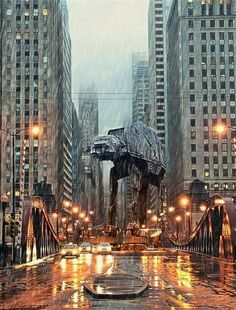 Star Wars Empire Strikes Back AT-AT Takes over City