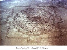 Sri Yantra ~ massive earth etching  in an Oregon dry lake bed.  Air National Guard pilot reported it during a fly-over on August 10, 1990.  A quarter mile in width, 70 miles southeast of Burns, Oregon in an area known as Mickey Basin. Reported in the wire services on Sept. 14th, it was identified as the ancient Hindu meditation icon: the Sri Yantra.