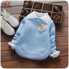 2018 New Autumn & Winter Newborn Girls Sweaters Cotton Fashion Flower Pattern Clothing Children Sweaters For YearsFashion children sweater autumn winter warm girls knitted turn-down collar sweaters baby outwearDiscover thousands of images about undef Latest Sweater Design, Woolen Sweater Design, Girls Sweaters, Baby Sweaters, Cable Knit Sweaters, Pullover Sweaters, Winter Pullover Outfits, Pullover Design, Newborn Boy Clothes
