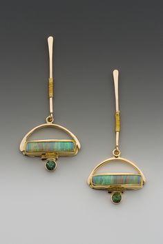 Cynthia Downs | Australian boulder opal and green tourmaline, 22k & 14k gold. #littleadditions