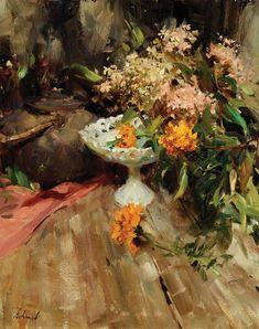 Richard Schmid (1934–Present), Hydrangea & Marigolds, oil on canvas, 30 x 24 in, JHAA 2008 Sold: $13,800