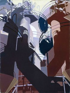 "Charles Sheeler, ""Ore Into Iron,"" oil on canvas, 1953"