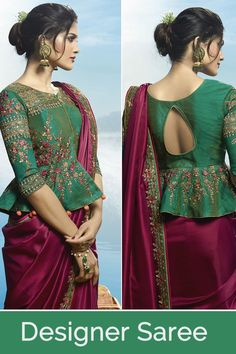 blouse designs Such a Lovely Shade In Pink Is Here With This Designer Saree In Magenta Pink Color Paired With Contrasting Dark Green Colored Blouse. Choli Designs, Indian Blouse Designs, Choli Blouse Design, Saree Blouse Neck Designs, Fancy Blouse Designs, Bridal Blouse Designs, Designs For Dresses, Blouse For Silk Saree, Latest Blouse Designs