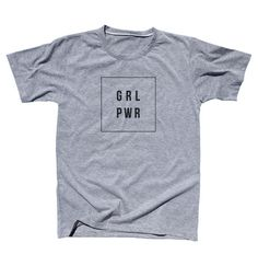 Girl Power GRL PWR Square White  Gray T shirt Unisex XS by POBoxx