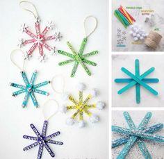 Popsicle Stick Snowflake Ornaments - Popsicle Stick Crafts for Christmas - Popsicle Stick Snowflake, Snowflake Craft, Popsicle Stick Crafts, Snowflake Ornaments, Diy Christmas Ornaments, Craft Stick Crafts, Diy And Crafts, Christmas Christmas, Popsicle Sticks