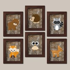 WOODLAND Nursery Wall Art, Woodland Wall Art, Wood Forest Animal Bear Deer Fox…