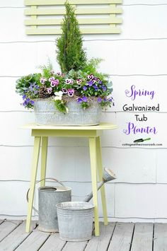 spring galvanized tub planter | Cottage at the Crossroads
