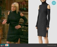 Nicole's black cold shoulder turtleneck dress on Days of our Lives. Outfit Details: https://wornontv.net/62331/ #DaysofourLives