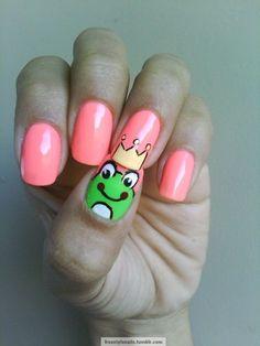 frog prince themed nail art