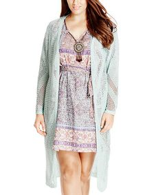 Another great find on #zulily! Sea Foam Fringe Mesh Open Cardigan - Plus…