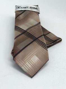 Stacy Adams Tie & Hanky Set Beige Khaki Brown Men's Microfiber  #StacyAdams #Set