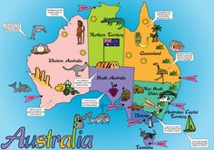 This is my map of Australia aimed at children aged Instead of labelling every picture of animals, landmarks, etc, i decided to leave t. Australia For Kids, Australia Crafts, Christmas In Australia, Australia Map, Western Australia, Australian Capital Territory, Maps For Kids, Tourist Map, Printable Maps