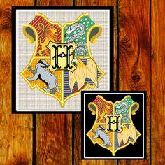 BUY 2 GET 1 FREE. Hogwarts Crest Cross Stitch Pattern. Harry Potter Cross stitch pattern.  Instant Download.