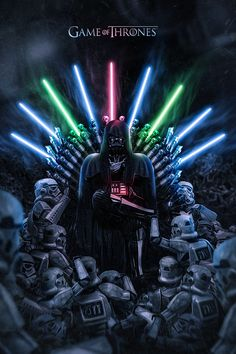 "Artist Kode Subject has created ""War Of Thrones,"" an excellent illustrated mashup of Star Wars and Game of Thrones. Now that's an Iron Throne fit for a Jedi killing Sith Lord. I'm sure that Hodor. Anakin Vader, Darth Vader, War Of Thrones, Star Wars Art, Star Trek, Jar Jar Binks, Stormtrooper, Star Wars Wallpaper, Iron Throne"